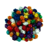 Pom-Poms, Glitter, Assorted Colours, Sizes.