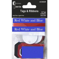 Colour Connection Tags and Ribbons Red.White.Blue.