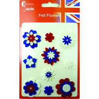 Colour Collection Red white and blue felt flowers