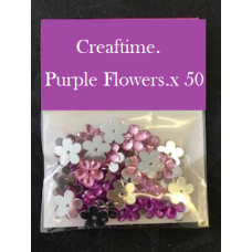 Colour Collection.Crystal Flowers Purple x 50