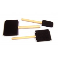 Wooden Handle Foam Brushes 3pk