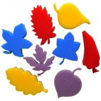8 assorted colour foam leaf shapes
