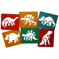 Pack of 6 Dinosaur themed plastic stencils.