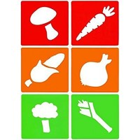 set of 6 reusable, washable and flexible stencils with vegetable designs.