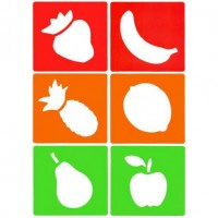 set of 6 reusable, washable and flexible stencils with fruit designs.